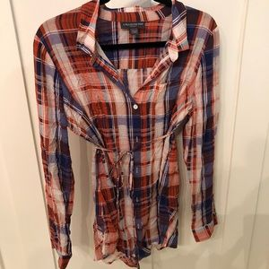 Plaid tie waist maternity blouse